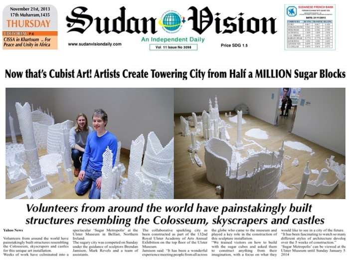 SUDAN VISION article covering the Northern Ireland version of Sugar Metropolis in November 2013