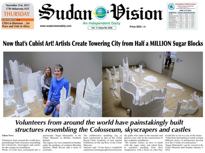 SUDAN VISION article covering the Northern Ireland version of Sugar Metropolis in November 2013