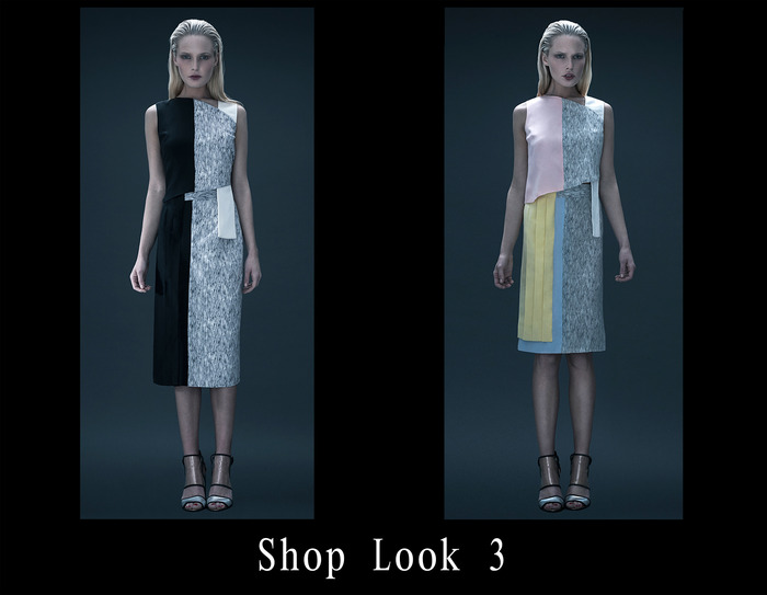 TOP: Asymmetric Print Block Silk Top / BLK-PRINT-IVORY or  LT PINK-PRINT-IVORY / 0-2-4-6-8-10 / $170 SKIRT: Pleated Print Block Silk Skirt / BLK-PRINT-IVORY or  LT BLUE-PRINT-YELLOW / 0-2-4-6-8-10 / $210