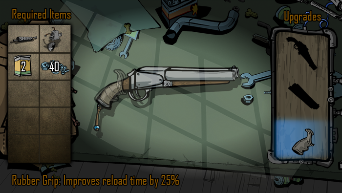 Head back to Grit's garage anytime to upgrade your weapons.