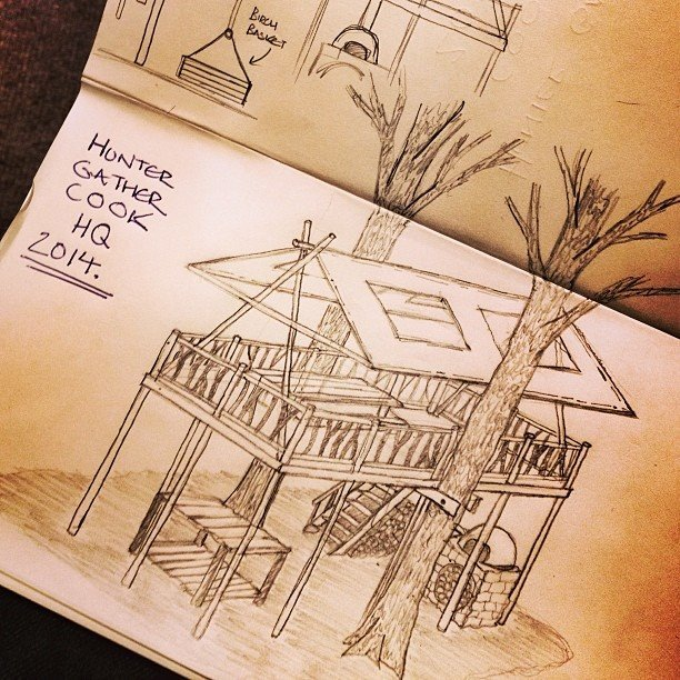 A sketch of the proposed Hunter Gather Cook Tree House HQ.