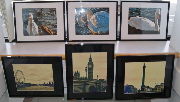 framed photos of London by Cila Miculic (bottom row)