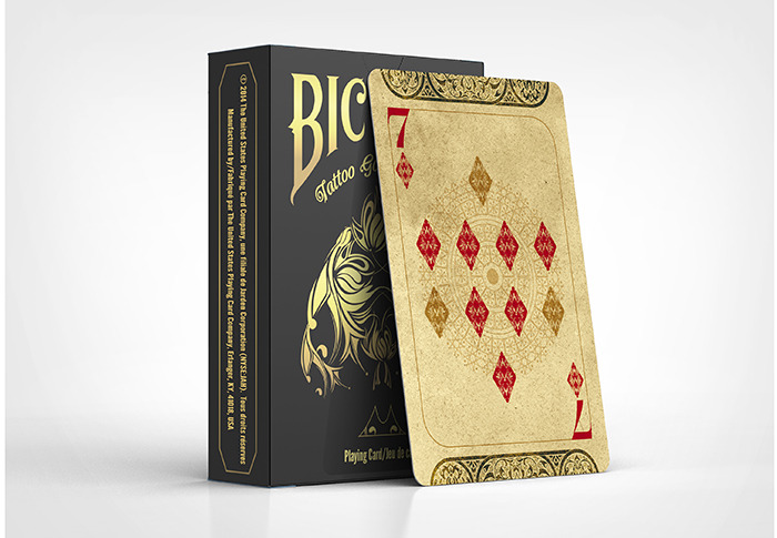 Bicycle tattoo golden edition playing cards by phoenix for Bicycle club tattoo deck