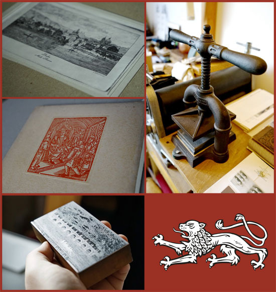 Counterclockwise from top left: Jindra Faktor's engraving, Print of actual 15th century woodblock, Woodblock for printing woodcuts; Manual printing press. (Click for the full size version)