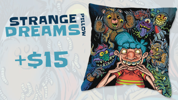 Strange Dreams Pillow (Horror Decor) - Art by James Groman