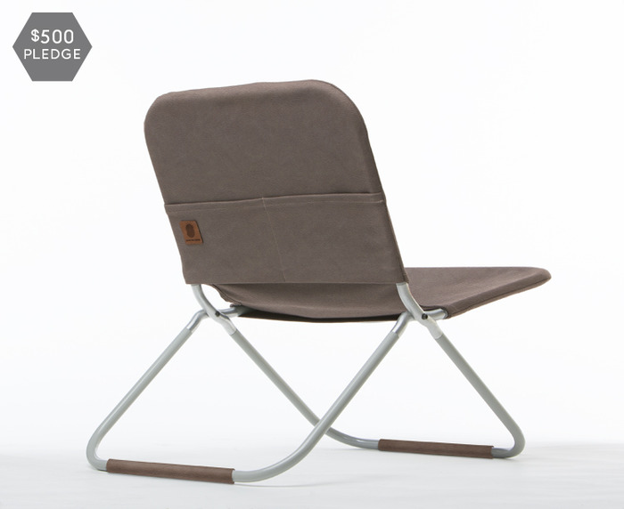 One chair with veg tan leather cover, pocket and leg cuffs.