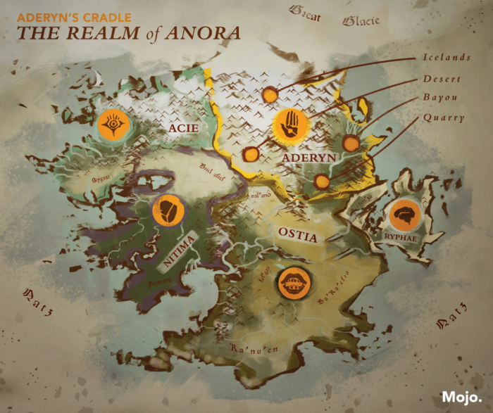 In this map, Aderyn's lands, the Cradle, are shown before the Soulfire Crisis and still as a part of Anora.