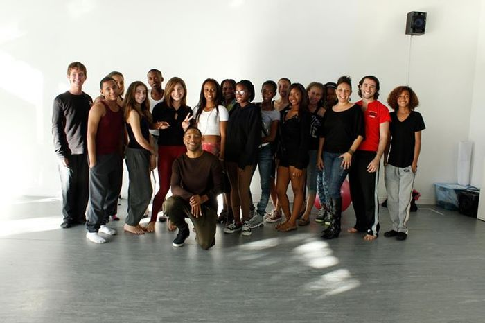Project LEAP teens stand with NYC-based choreographer Kyle Abraham (Abraham.In.Motion) after an uplifting master class and talk.