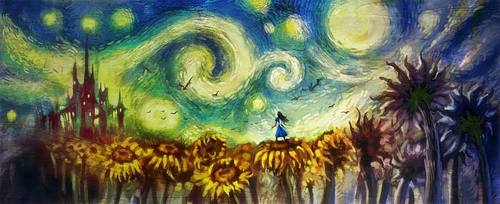 Alice with Sunflowers