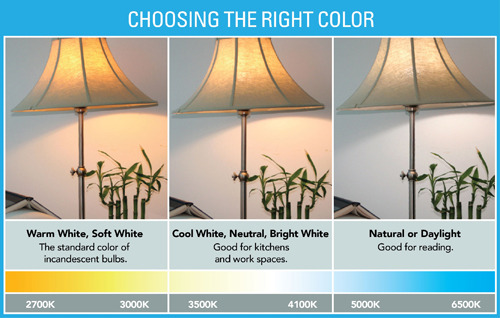 Color temperatures and the Kelvin rating (photo credit energystar.gov)