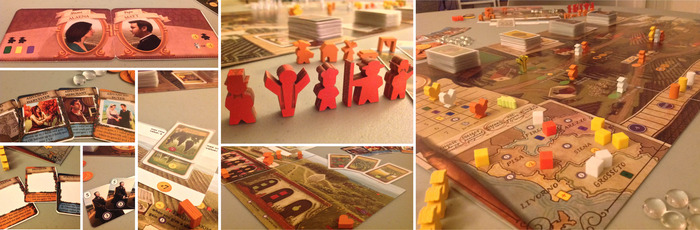 Photos include prototype components. The final Farmer meeple (pictured with a staff) will not have a staff.