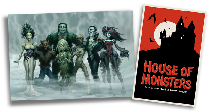 """How about a little wall candy for your tomb? For $200, We're offering two prints, signed by the artists. """"The Monster Lineup"""" by Warren Manser, and """"The Castle"""" by Dianne Chadwick."""