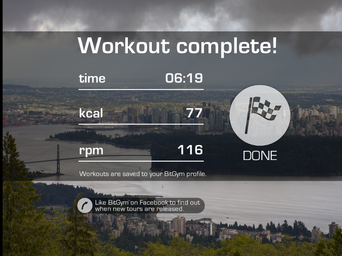 End workout screen.