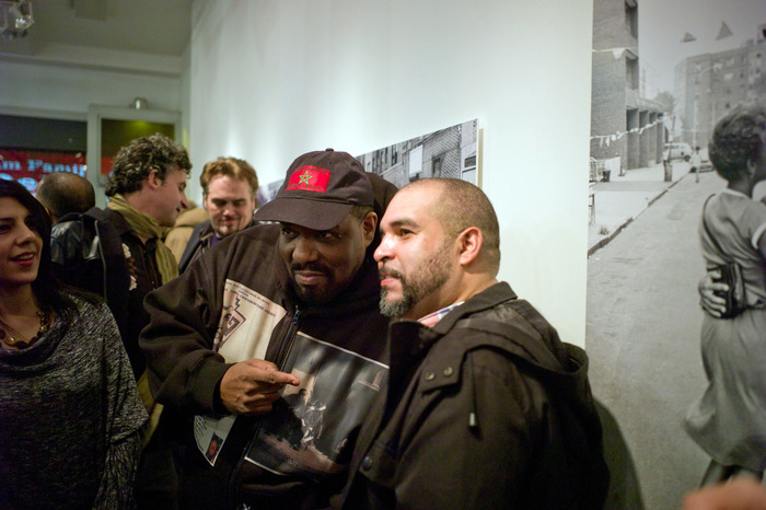 """Hip hop pioneer Afrika Bambaataa and BDC volunteer Ed Garcia Conde at the opening reception of """"Seis del Sur: Dispatches from Home by Six Nuyorican Photographers"""""""