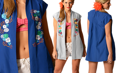 Acapulco Swing Vest Swimsuit Coverup Sizes S/M & L/XL; Slate, Swell