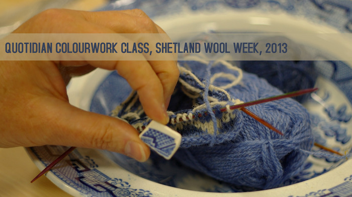 "Willow pattern fragments inspire a blue stranded colourwork design at ""Quotidian Colourwork"", Shetland, 2013"