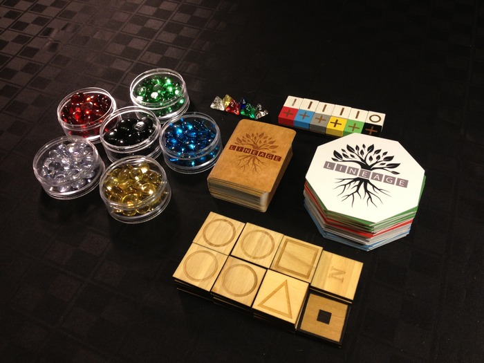 95 cards, 163 glass stones, 25 octagons, 36 wooden squares, 6 dice, 12 wooden player pieces