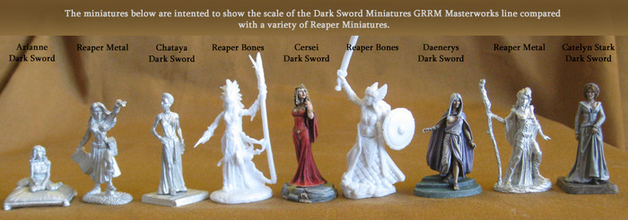 Female Miniatures Size Comparision Between Reaper Miniatures and Dark Sword Miniatures
