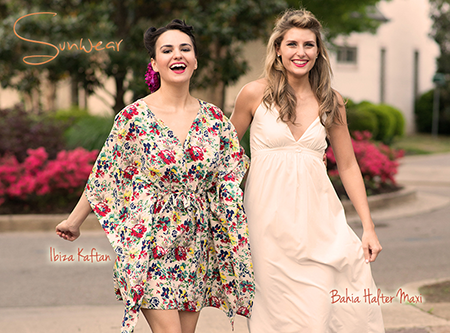 Ibiza Floral Kaftan & Pearl Bahia Halter Maxi