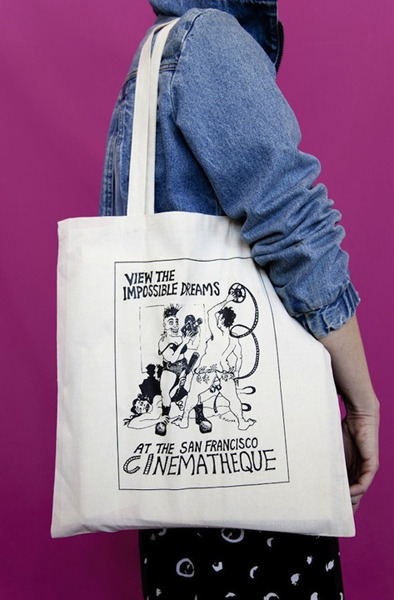 San Francisco Cinematheque tote bag with illustration by George Kuchar