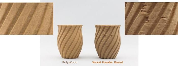 Comparison of parts made from PolyWood and a wood-powder based filament
