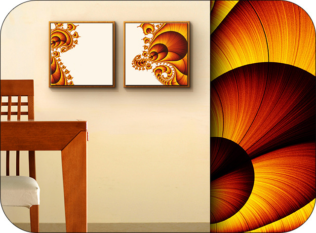 """""""Gaston and Julia"""" artwork by director Sergio Toporek. A diptych named after the French mathematician who pioneered fractal geometry."""
