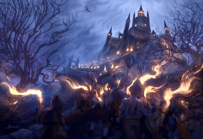 Behold! The House of Monsters!  Art by Warren Manser.