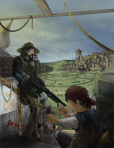 Standing watch in the town of Arena. Art by Mike Wilson.
