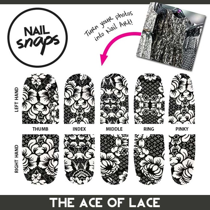 Want nail art to perfectly match ~any outfit? Snap a photo of the outfit pattern and use @NailSnaps to design the perfect look like this one from the pattern of a cute lace dress.