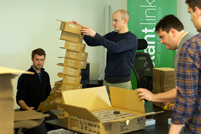 Leaning tower of Basestation boxes during our packing extravaganza.