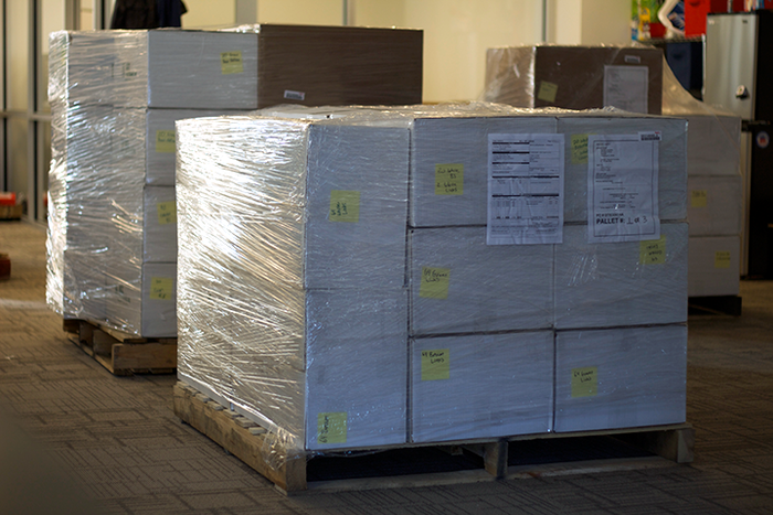Finally, the shipment on pallets and ready for pick-up!