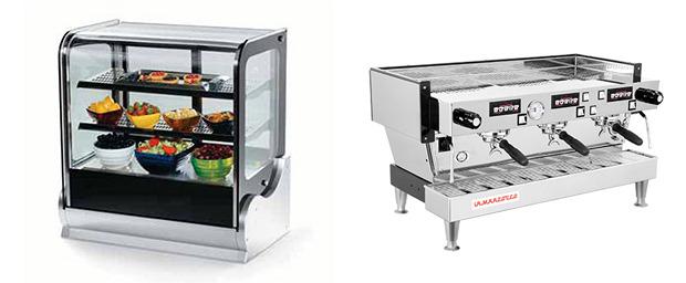 The slim pastry case and our espresso machine of choice (La Marzocco Linea)