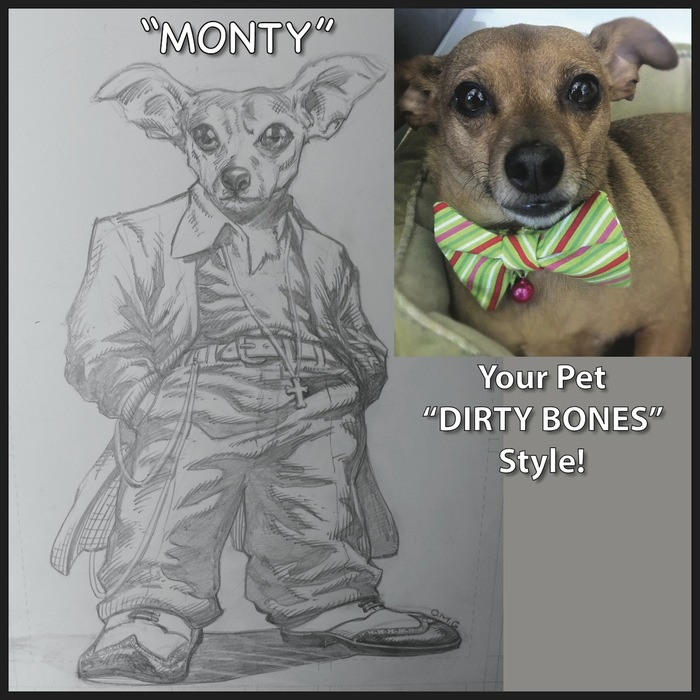 "Your Pet Hand Drawn by OMG, ""Dirty Bones"" Style!"