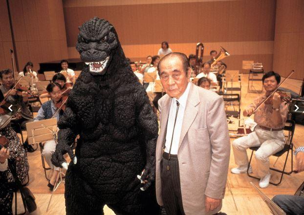 Akira Ifukube in the recording studio with a good friend. Photo Courtesy of www.akiraifukube.org