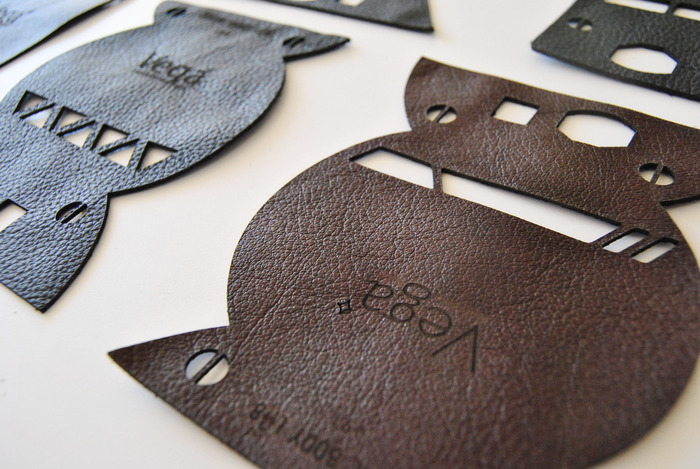 Laser cut leather from early Edge prototypes