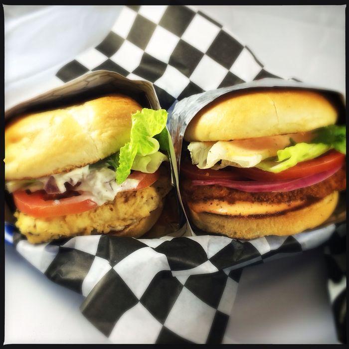 """Fish"" Sandwich and Spicy Chik-n Sandwich"