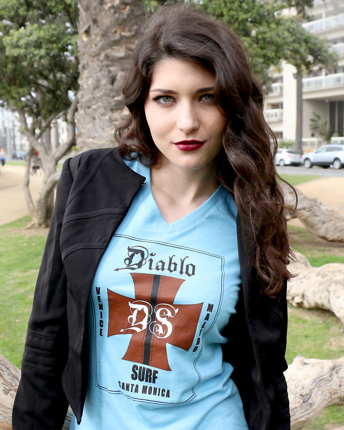 Michelle wears a Diablo t-shirt - one of the many donor rewards.