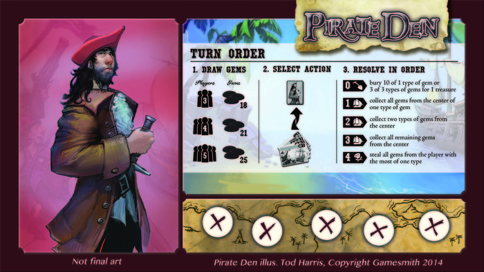 Pirate Den player mat with rules summary.