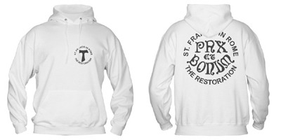 "Cotton sweatshirt with the words ""Pax et Bonum"" and the logo of the restoration"