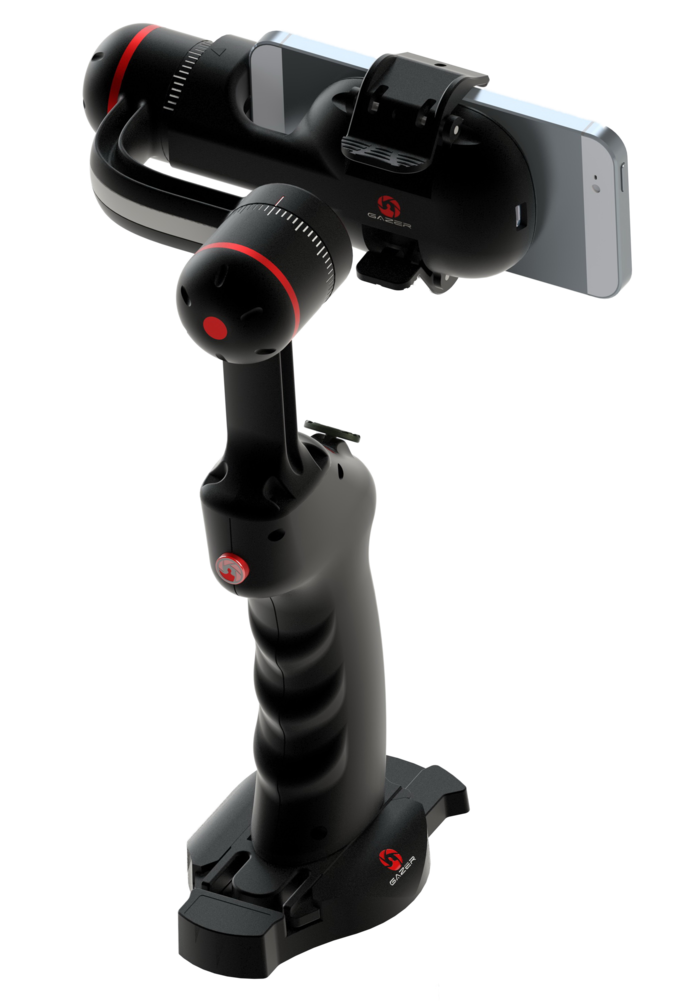 SP1 smartphone stabilizer on optional desktop charger stand