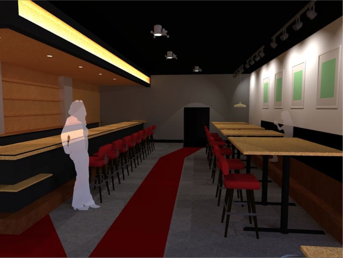 Rendering of the café room