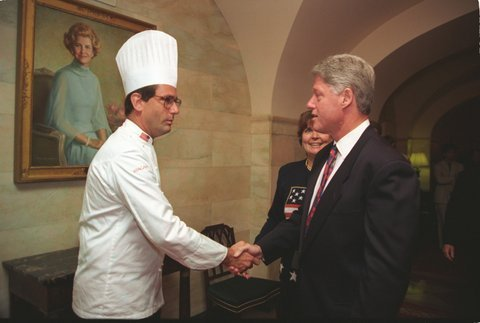 Chef Walter Scheib (shaking hands with President Bill Clinton)
