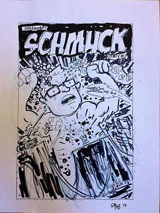 An original drawing on tracing paper by Gregory Benton, signed by the artist.  This is an early version of what became the cover for SCHMUCK Comix #1, offered as a reward