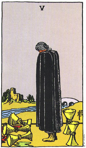 The Five of Cups, by Pamela Colman Smith