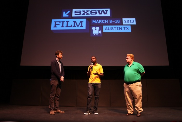 Ben Nabors, William Kamkwamba & Tom Rielly on stage following the film's World Premiere
