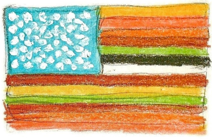 """DIVERSITY FLAG"" crayon drawing book cover art"