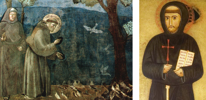 "Part of the fresco ""Sermon to the birds"" by Giotto di Bondone and detail of St. Francis' portrait by Margaritone d'Arezzo"