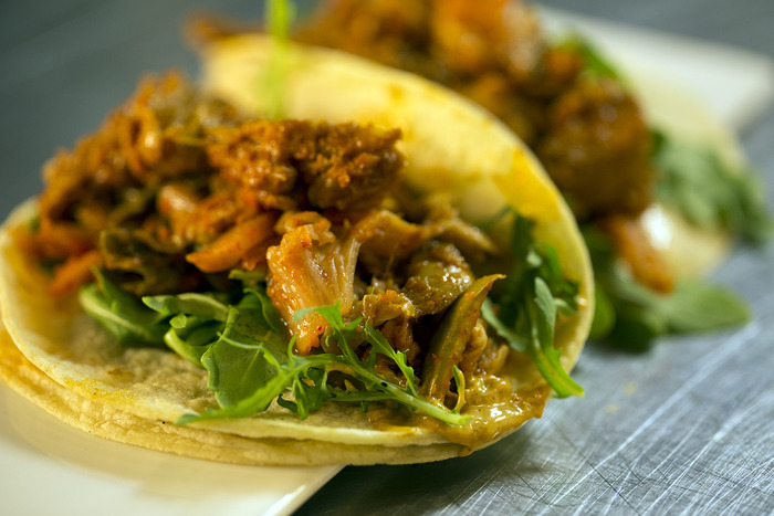 Guest Chef Adam Sobel's Seitan and Kimchi Taco from our Brown Bag Lunch Episode