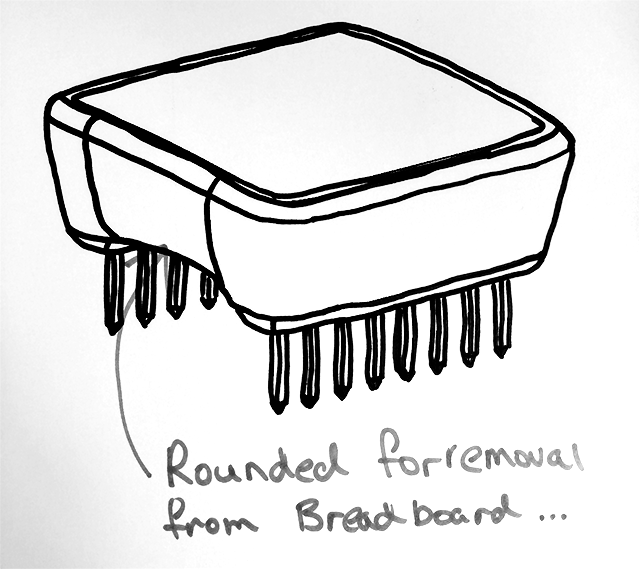 Our initial whiteboard sketch of the MicroView.