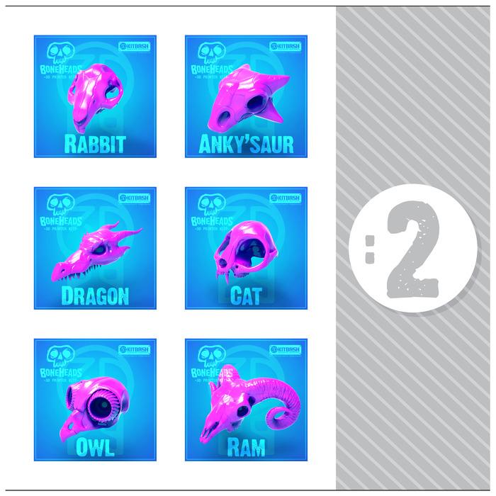Set '2' Includes: Rabbit, Ankylosaurus, Dragon, Cat, Owl, & Ram Skulls